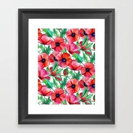 Plenty of Poppies - white Framed Art Print