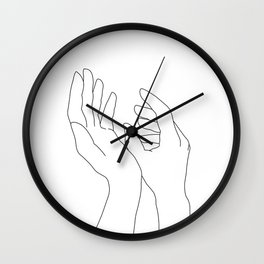Hands line drawing illustration - Elsa Wall Clock