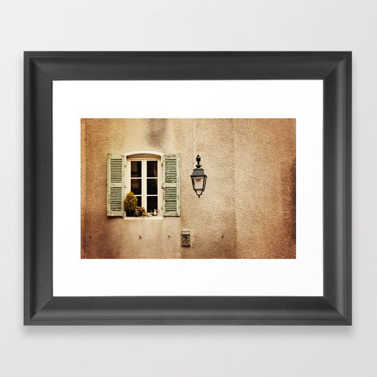 Window with Shutters and Teapot Framed Art Print