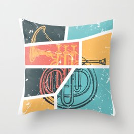 French Horn Retro Funny print French Horn Player Gift Throw Pillow