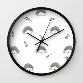 Beautiful hedgehog with nature leaves Wall Clock