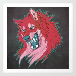 Ravewolf -Teal and Berry Art Print