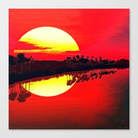 duvet cover Canvas Prints featuring Sunset duvet cover by customgift