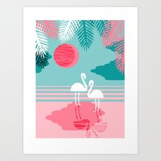 Chill Vibes - memphis retro throwback 1980s 80s neon pop art flamingo paradise socal vacation  Art Print