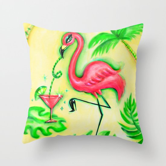 Flamingo Sipping a Pink Martini Throw Pillow