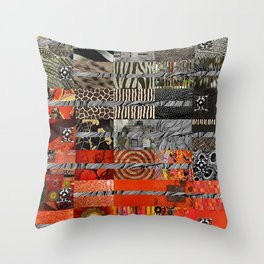 Black Red & Grey Abstract Art Collage Throw Pillow