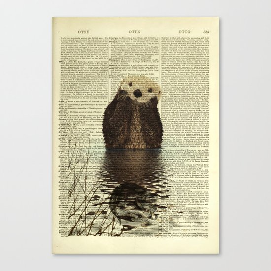 Otter in Love Canvas Print