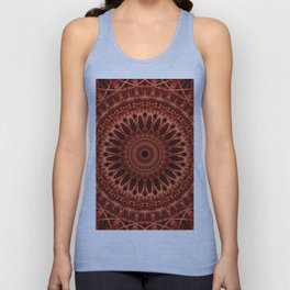 Brown and red tones mandala Unisex Tank Top