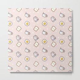 Cute blush pink pastel color funny milk food pattern Metal Print