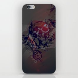 Until One of Us Starts Raving - Skull and Motorbikes iPhone Skin