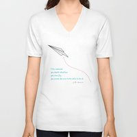 airplanes V-neck T-shirts featuring Paper Airplanes - You Can Fly - Deep Teal by Sugar Spice and Nutmeg