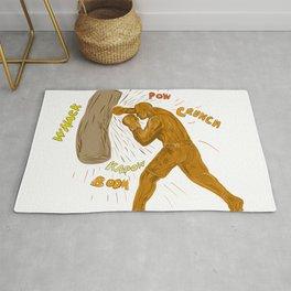 Boxer Hitting Punching Bag Drawing Rug