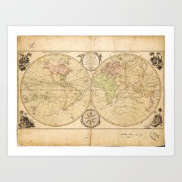 World Map by Carington Bowles (1791) Art Print