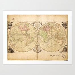 World Map by Carington Bowles (1791) Art Print