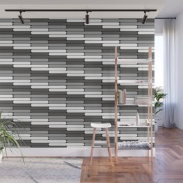 Staggered Oblong Rounded Lines Pattern Pantone Pewter Gray Wall Mural