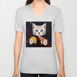 Space Cat with taco and pizza Unisex V-Neck