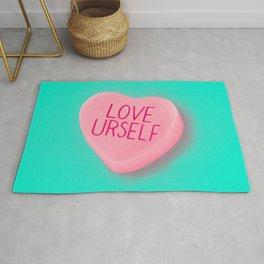 Love Yourself Feminist Heart Rug
