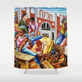 """African American Classical Masterpiece """"The building of Savery Library"""" by Hale Woodruff Shower Curtain"""