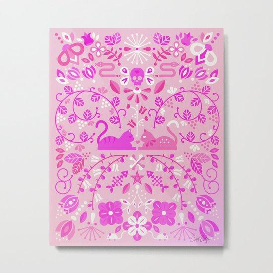 Kitten Lovers – Pink Ombré Metal Print