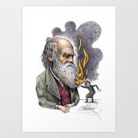 darwin Art Prints featuring Darwin by ElenaTerrin