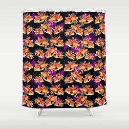 goldfish on black background Shower Curtain