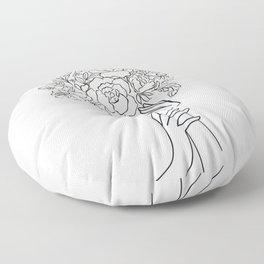 Pensive Woman With Flower Head Minimal Line Art #Society6 #Buyart Floor Pillow