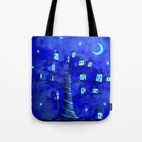 the neighbourhood Tote Bags featuring New Moon In The Neighbourhood by FLYING TOWN