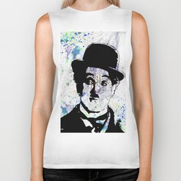 Charlie Chaplin-Watercolor Biker Tank