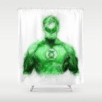 green lantern Shower Curtains featuring Green Lantern by KitschyPopShop