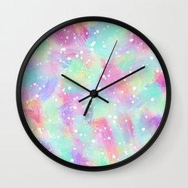 Artsy Colorful Abstract Paint Daub Polka Dots Wall Clock