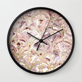 Dusty Rose and Coral Art Deco Marbling Pattern Wall Clock
