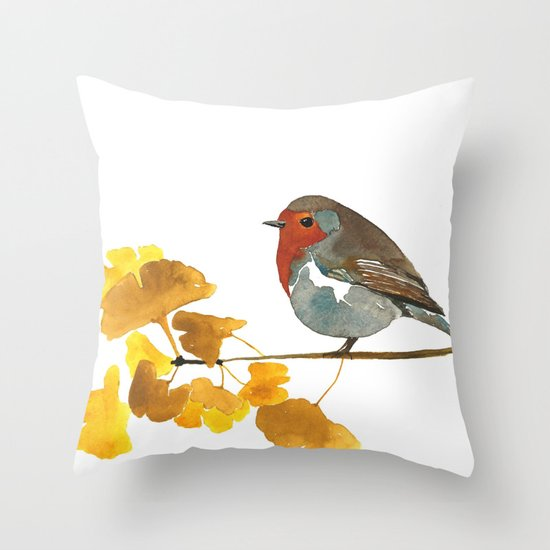 Enlightenment English Robin Watercolor Throw Pillow