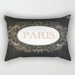 Paris Black White Gold Typography Home Decor Rectangular Pillow
