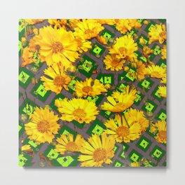 Rich Golden Yellow  Coreopsis Flowers Green Modern Art Metal Print