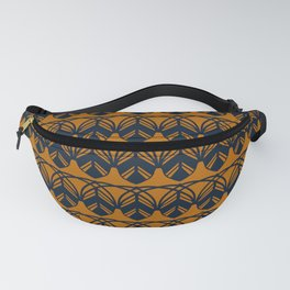 GATHER dark navy and mustard gold feather pattern Fanny Pack