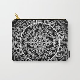 Detailed Black and White Mandala Pattern Carry-All Pouch