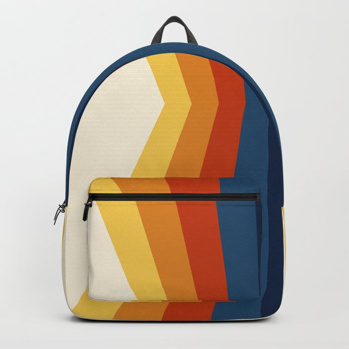 Bright 70's Retro Stripes Reflection Rucksack