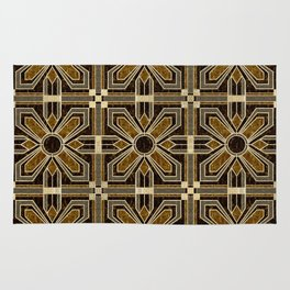 Art Deco Floral Tiles in Browns and Faux Gold Rug