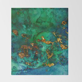 Emerald And Blue Glitter Marble Throw Blanket