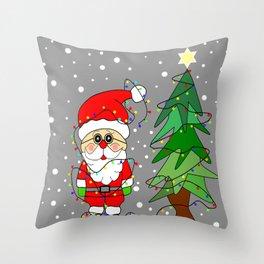 Playful Santa Throw Pillow