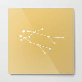 Gemini Zodiac Constellation - Golden Yellow Metal Print