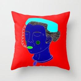 Anxious Lady Throw Pillow