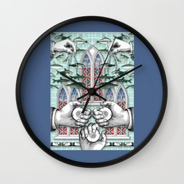 Three of Pentacles Wall Clock