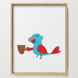 Used to be Noisy But Funny Talking Bird Tshirt Design Its too early Serving Tray