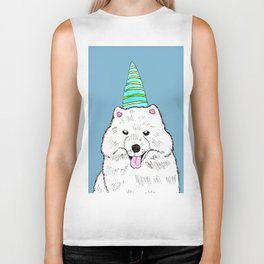 Samoyed with Party Hat Biker Tank