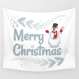 Merry Christmas Snowman - 143 Wall Tapestry