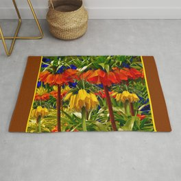 COFFEE BROWN YELLOW & ORANGE CROWN IMPERIALS GARDEN Rug
