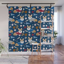 Corgi baseball themes sports dog fabric welsh corgis dog breeds gifts Wall Mural