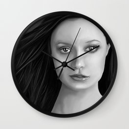 Summer Glau - The girl with the beautiful face B&W Wall Clock