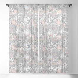 Farmhouse Chic Blush Pink and Grey Floral Pattern Sheer Curtain